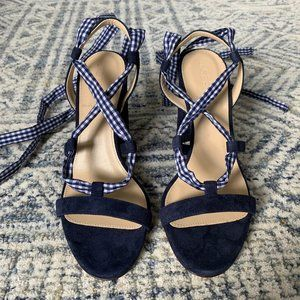 JCrew Gingham Lace Up Stella Sandals, 6.5